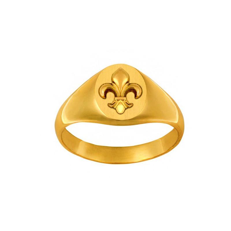 chevalière femme fleur de lys en or jaune 750 - 18 carats