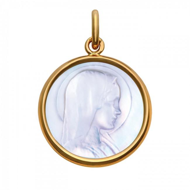 Médaille Vierge Jeune nacre 24mm