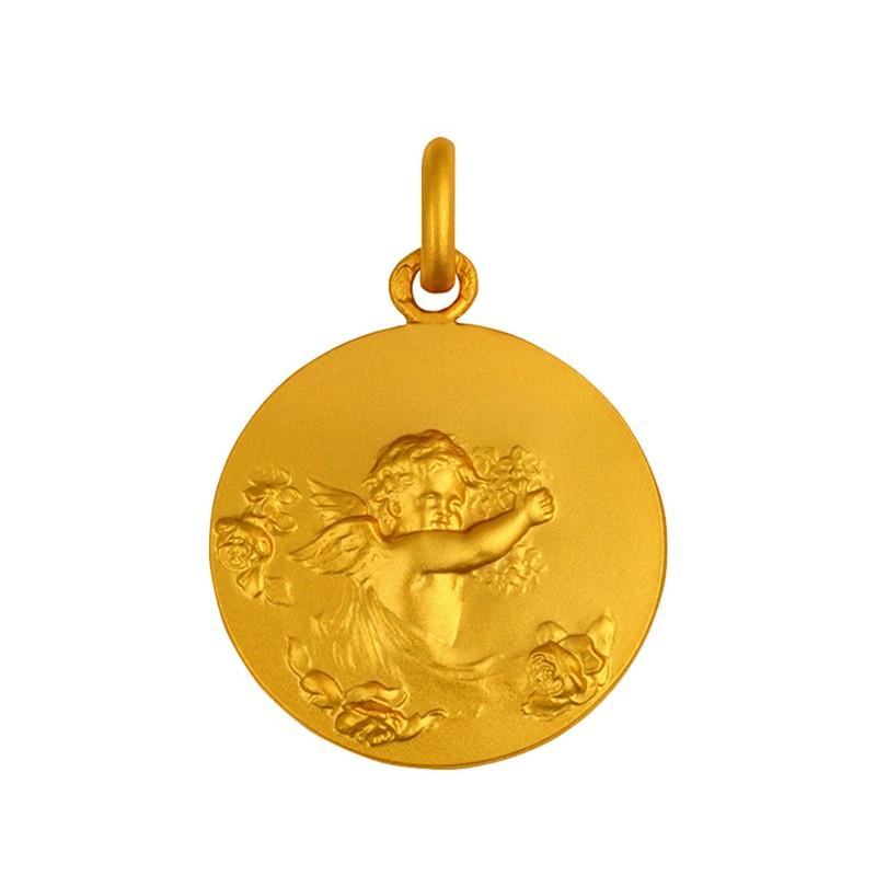 Medaille Ange aux fleurs
