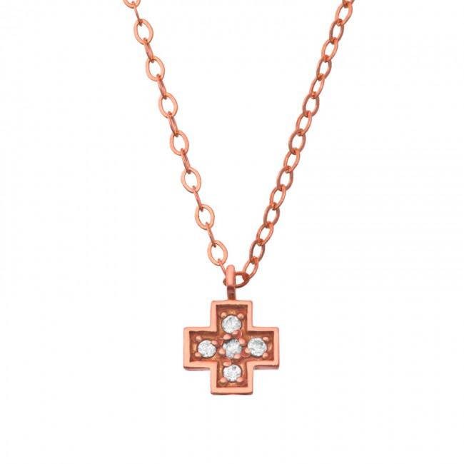 Collier croix large et diamants
