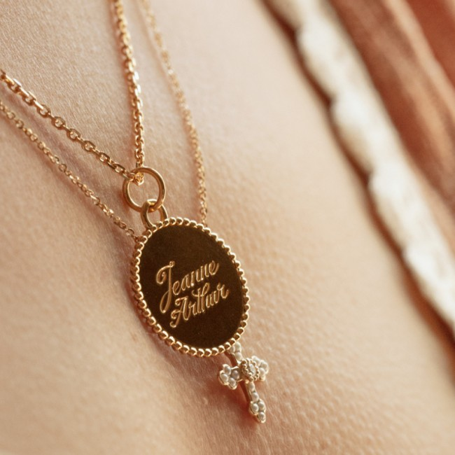 Médaille jeton perlé