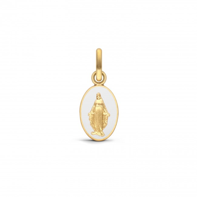 MEDAILLE MIRACULEUSE LAQUE BLANC 10MM
