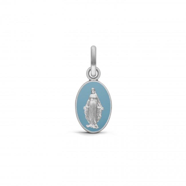 MEDAILLE MIRACULEUSE OR BLANC LAQUE BLEU 10MM