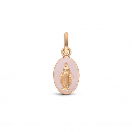 MEDAILLE MIRACULEUSE OR ROSE LAQUE ROSE POUDRE 10MM