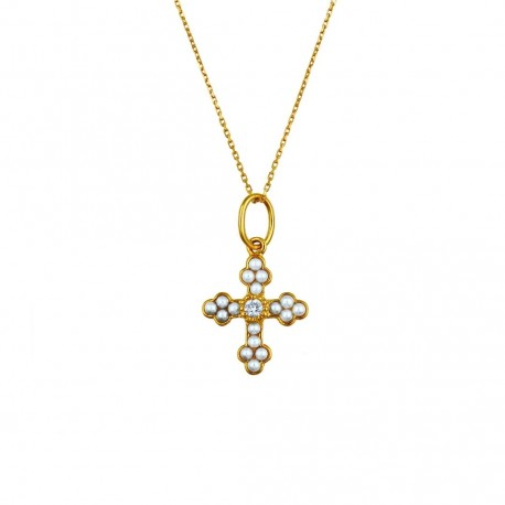 COLLIER CROIX PERLES ET DIAMANTS IRIS