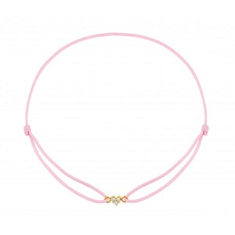Bracelet cordon croix Rose