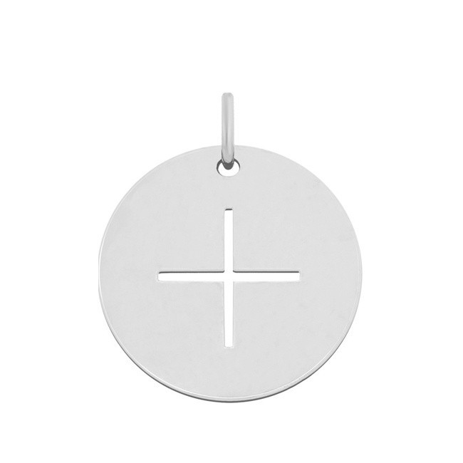 Pendentif croix fine or blanc