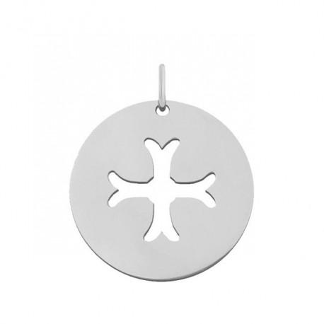 Pendentif Croix byzantine or blanc