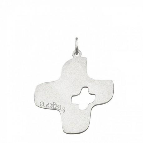 Croix Arcabas ajourée or blanc