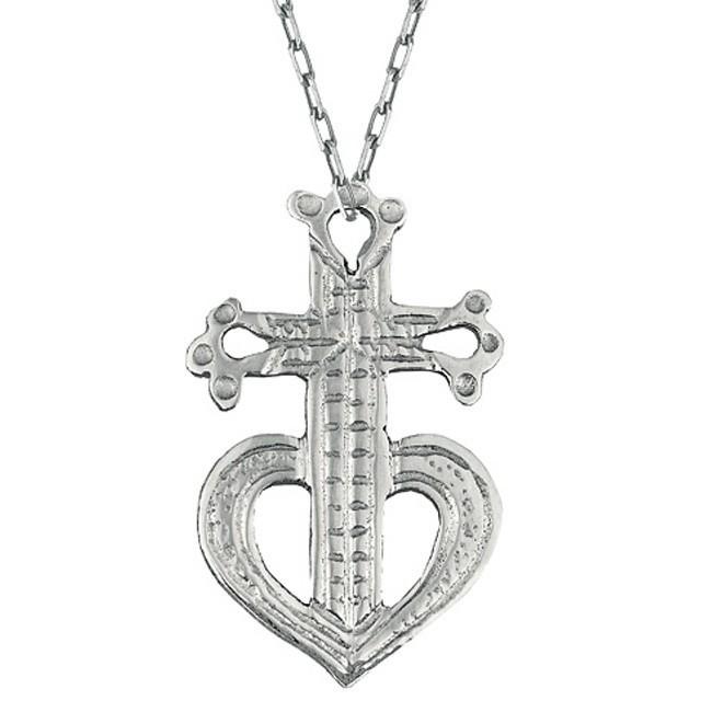 Pendentif croix provençale sur chaine or blanc