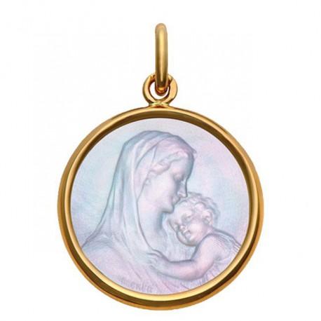 Médaille Mater Dei or et nacre