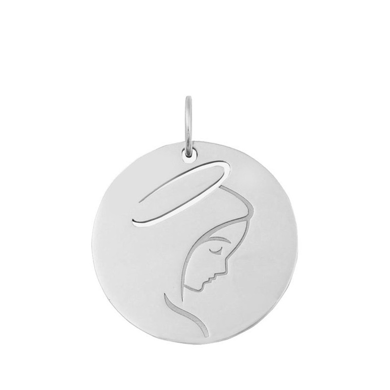 Médaille Vierge jeune or blanc