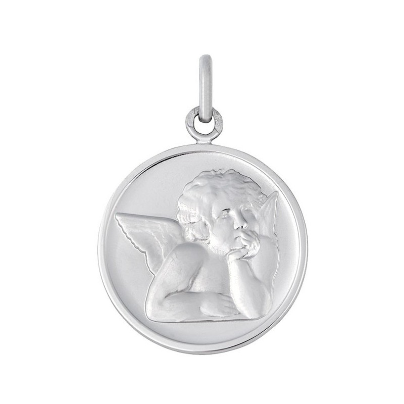 Médaille Ange Raphaël or blanc