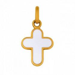 Croix arrondie email blanc or jaune