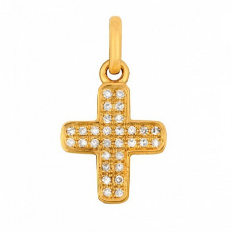 Croix baby cross or jaune et diamants