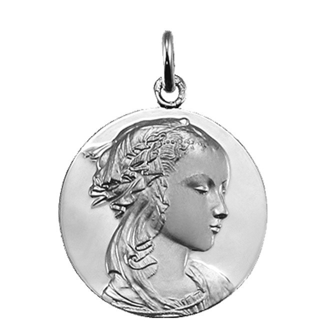 Medaille adorazione en  or blanc