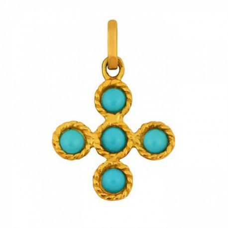 Croix tressée et pierres turquoises