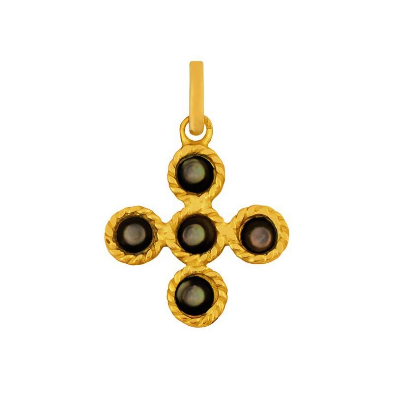 Croix tressee et pierres noire