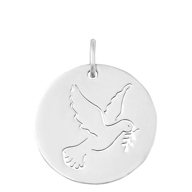Médaille Colombe ajourée or blanc