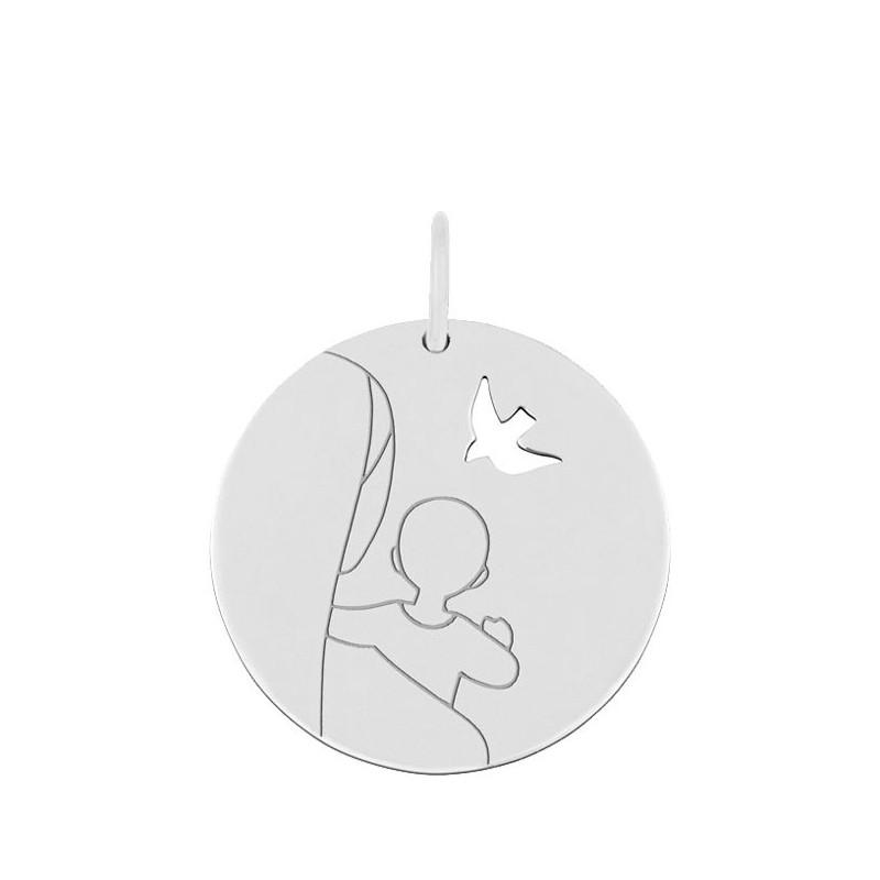 Médaille Vierge d'espérance or blanc