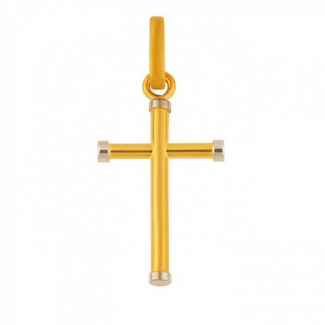 Croix jonc avec embout en or blanc