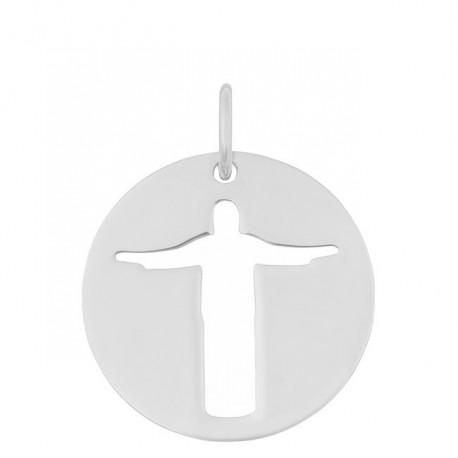 Médaille Christ de Rio or blanc