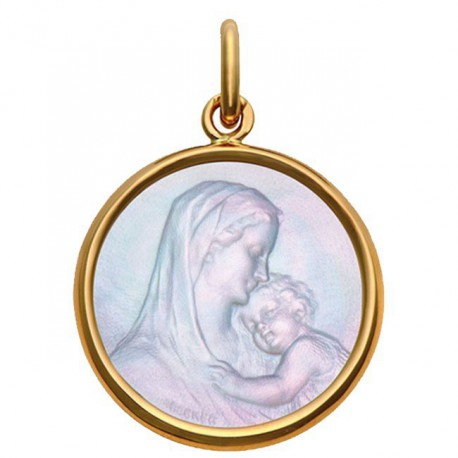 Médaille Mater Dei or &nacre 22mm
